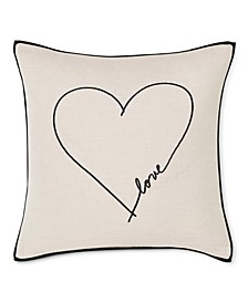 "20"" L x 20"" W Love Heart Embroidered Square Pillow"