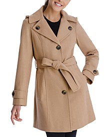 Single-Breasted Belted Hooded Walker Coat