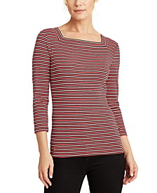 Striped Square-Neck Top