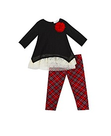 Baby Girls Lace Sweater Knit Set with Plaid Legging