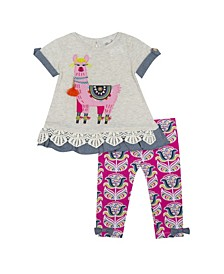 Baby Girls Knit Set with Ruffles and Llama Applique