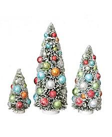 Bottle Brush Christmas Trees with Ornaments Snow Flocking on Wood Base Set of 3 Sizes
