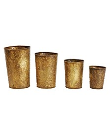 Decorative Embossed Galvanized Metal Containers with Heavily es Set of 4 Sizes