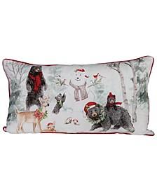 """Reversible Bears, Snowman Deer Winter Scene Cotton Lumbar Pillow, 32"""" x 18"""""""