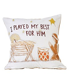 """Reversible Embroidered """"I Played My Best For Him"""" Square Cotton Pillow with Baby Jesus Drummer Boy Beige Burlap Back, 18"""" x 18"""""""