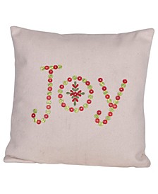 """Square """"Joy"""" Embroidered Wool Felt Pillow with Buttons, 18"""" x 18"""""""