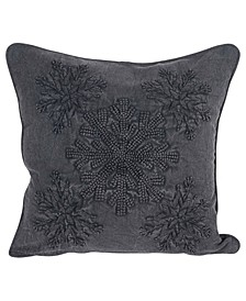 "Square Snowflake Embroidered Appliqued Pillow, 18"" x 18"""