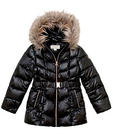 Big Girls Stadium Length Belted Puffer Jacket