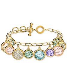 Gold-Tone Pavé Coin & Multicolor Crystal Elements Charm Bracelet
