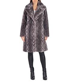 Python-Print Faux-Fur Coat