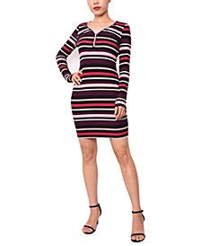 Juniors' Striped Henley Bodycon Dress