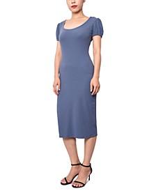 Juniors' Puff-Sleeve Ribbed Dress