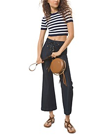 Lace-Up Wide Cropped Jeans