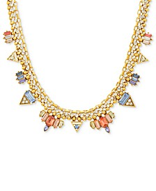 """Gold-Tone Multi-Crystal 15"""" Collar Necklace"""