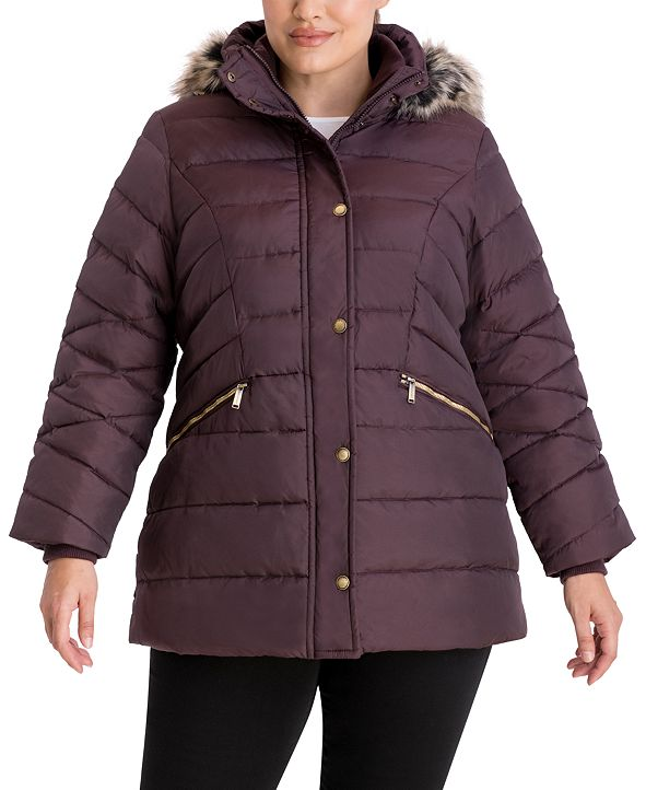 London Fog Plus Size Faux-Fur-Trim Hooded Puffer Coat