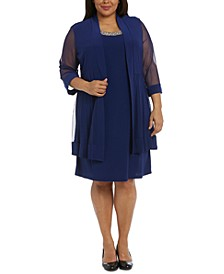 Plus Size Shift Dress and Jacket