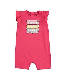 Baby Girl Ruffle Sleeve Logo Romper