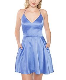 Juniors' Lace-Back Satin Skater Dress