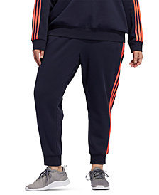 adidas Plus Size 3-Stripes Fleece Jogger Pants