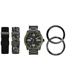 American Exchange Men's Interchangeable Strap & Bezel Watch 48mm Gift Set