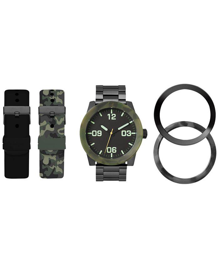 American Exchange - Men's Interchangeable Strap & Bezel Watch 48mm Gift Set