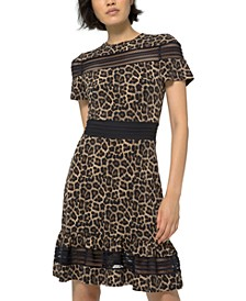 Leopard-Print Mesh-Trim Dress, Regular & Petite Sizes