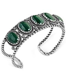 Malachite Rope Cuff Bracelet in Sterling Silver