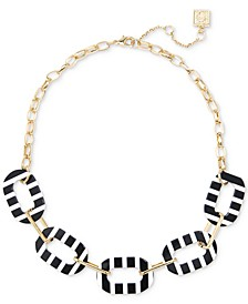 """Gold-Tone Striped Oval Link Collar Necklace, 17"""" + 2-1/2"""" extender"""