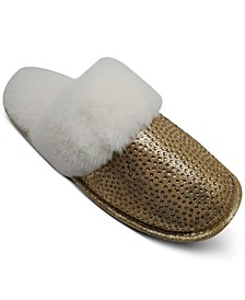 INC Glitter Faux-Fur Slippers, Created for Macy's