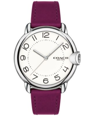 코치 여성 손목 시계 COACH Womens Arden Magenta Leather Strap Watch 36mm