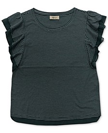 Petite Striped Mesh-Trim Top, Created for Macy's