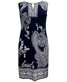 Petite Paisley-Print Sheath Dress, Created for Macy's