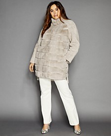 Plus Size Shearling Lamb & Rabbit-Fur Coat