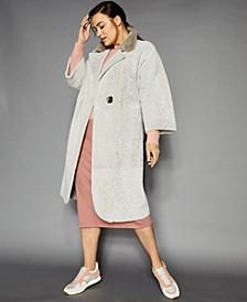 Plus Size Reversible Shearling Lamb & Mink-Fur Coat