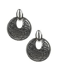 Etched Doorknocker Earrings