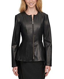 Zippered Faux-Leather Jacket