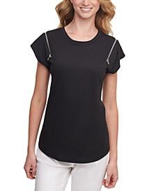 Zip-Shoulder T-Shirt
