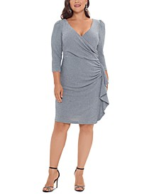 Plus Size V-Neck Faux-Wrap Dress