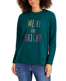 Style & Co Holiday Graphic-Print Sweatshirt, Created for Macy's