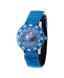 Disney Frozen 2 Olaf Boy's Stainless Steel Time Teacher, Blue Bezel Watch 32mm