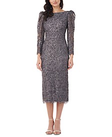 Puff-Sleeve Lace Midi Dress