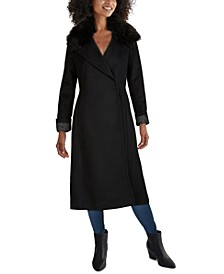 Faux-Fur Collar Belted Wrap Coat