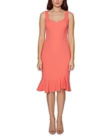 Sweetheart-Neck Flounce-Hem Midi Dress