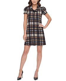 Plaid Cowlneck Dress