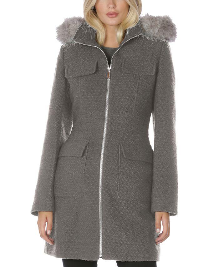 Laundry by Shelli Segal - Faux-Fur-Trim Hooded Coat