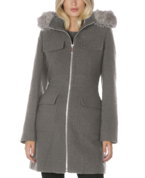 Laundry By Shelli Segal LAUNDRY BY SHELLI SEGAL FAUX-FUR-TRIM HOODED COAT