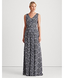Printed Georgette Belted Gown
