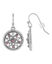 Silver-Tone Light Amethyst Purple Round Drop Earrings