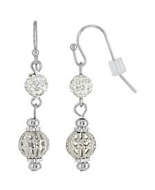 Silver-Tone Crystal Fireball and Filigree Drop Earrings