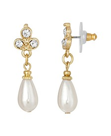 Gold-Tone Crystal Imitation Pearl Drop Earring